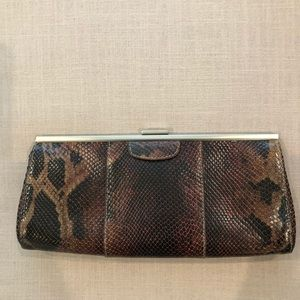 Banana Republic faux snakeskin clutch